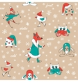 Funny animals in winter vector image vector image