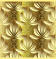 gold 3d damask baroque seamless pattern vector image vector image