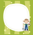 greeting card with cute farmer boy greeting card vector image