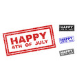 grunge happy 4th of july scratched rectangle vector image vector image
