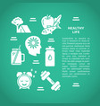 healthy lifestyle concept banner template in flat vector image vector image