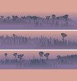 horizontal banners foggy forest valley vector image