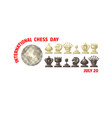 international chess day card chess pieces vector image