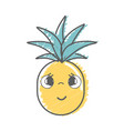 kawaii cute shy pineapple vegetable vector image vector image