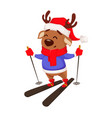 merry christmas cute deer wearing santa claus hat vector image