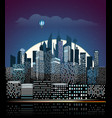 modern cityscape in night city buildings vector image