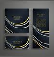 modern dark golden invitation card design set vector image