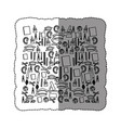 monochrome contour sticker with set of study icons vector image vector image