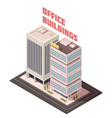multistory office buildings isometric composition vector image vector image
