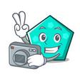 Photographer pentagon mascot cartoon style