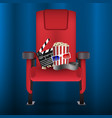 realistic red cinema movie theater seat with film vector image