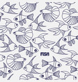 seamless pattern with line fishes vector image