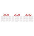 set minimalist calendars years 2020 2021 2022 vector image vector image