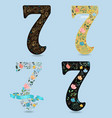 set of country floral numbers seven vector image vector image