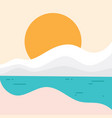 simple beach landscape with sun for element vector image