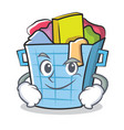 smirking laundry basket character cartoon vector image vector image