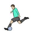 soccer player shooting a blue ball vector image vector image