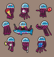 sticker a cartoon octopusset stickers funny vector image