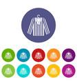 striped pajama shirt icons set flat vector image vector image