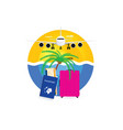travel symbol with pink suitcase and passport vector image