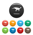 tsintaosaurus icons set color vector image vector image