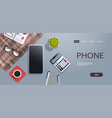 workplace desk cell smart phone business strategy vector image vector image