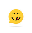 yummy emoji speech bubble logo vector image vector image