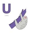 Alphabet letter U unau children vector image vector image