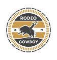 american rodeo vintage label with cowboy on bull vector image