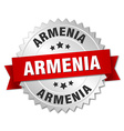Armenia round silver badge with red ribbon vector image vector image