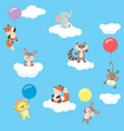 baby animals in the sky with balloons and clouds vector image vector image
