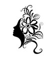 beautiful girl face with sketch ornate vector image