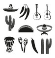 black and white 12 mexican elements vector image vector image