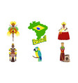 Brazil symbols set travel and attractions of