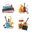 cartoon musical instruments piles set vector image