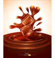 chocolate pieces falling into melted chocolate vector image vector image