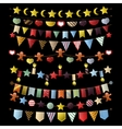 Colorful bunting and garland set isolated on white vector image