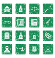 crime and punishment icons set grunge vector image