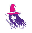 cute witch flying in broom on color sections vector image