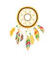 Decorative dream catcher with feathers native vector image