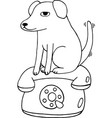 dog sits on the telephonecoloring page for adults vector image