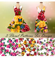 dress with an trendy rose and butterflies design vector image vector image
