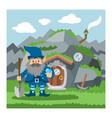 fantasy gnome house cartoon fairy treehouse vector image vector image