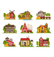 farm buildings set agriculture industry and vector image vector image