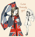 fashion trendy girl hold umbrella in british flag vector image vector image