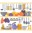 flat kitchen shelves with utensils and kitchenware vector image