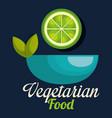 fresh lemon in bowl vegetarian food vector image