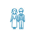 friendly family linear icon concept friendly vector image