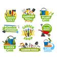 gardening shop equipment gardening icons vector image