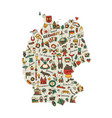 germany map icons set sketch for your design vector image vector image